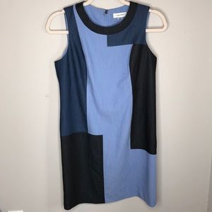 Calvin Klein Multi Blue Checker Dress Size 8P